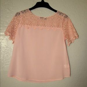 Tops - Women Peach Crochet Blouse Size L